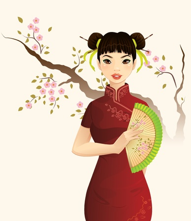 v�tements pli�s: Belle Fille chinoise