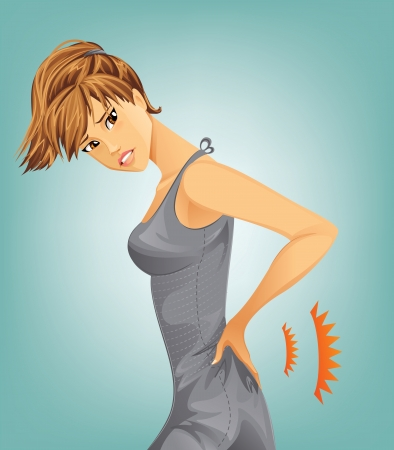 Woman suffering from backache Illustration