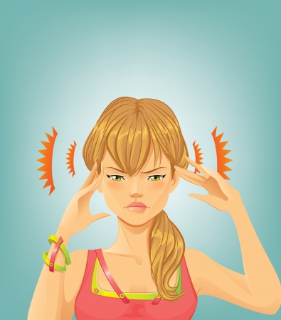 ragazza malata: Mal di testa Vettoriali