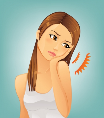 Woman suffering from a toothache Vector
