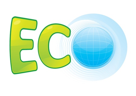 Glossy Blue Planet and text showing ECO symbol