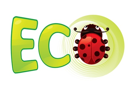 Ladybug and text showing eco symbol Illustration
