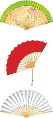 red fan: Folding Fan Set