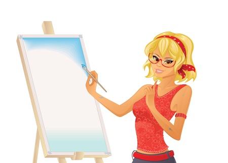 artist painting: Pretty girl painting Illustration