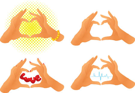 Collection of hands showing heart symbol