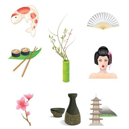 Japan Icons Illustration