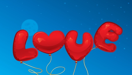 Love balloons text and heart shape Stock Vector - 21635916