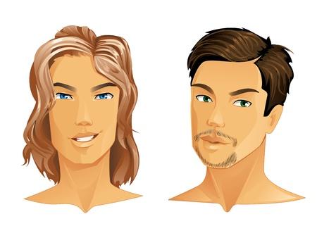 hombre con barba: Dos hombres guapos con peinados diferentes