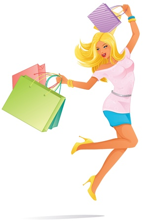 jump for joy: Woman Shopping Illustration