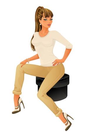 Belle femme assise sur une petite chaise isolée sur fond blanc