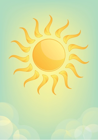 Sun and Sky with clouds  Illustration