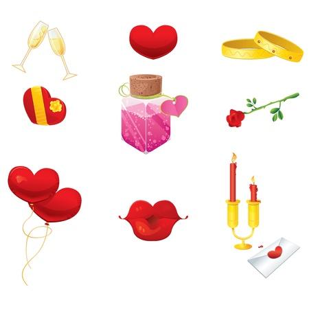 beso labios: Iconos románticos Vectores