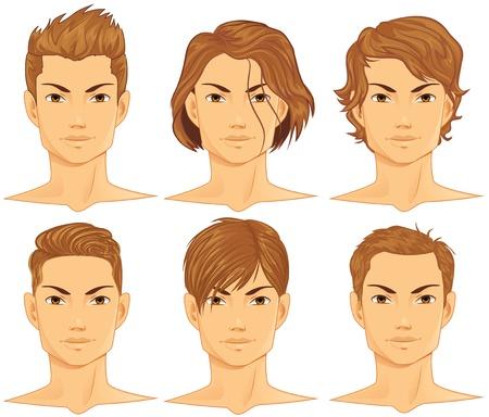 coupe de cheveux homme: Coiffures Set Illustration