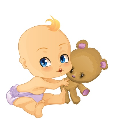 Baby Boy playing with Teddy Bear Vector