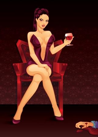 killer: Vampire Lady   Vector Illustration  Illustration