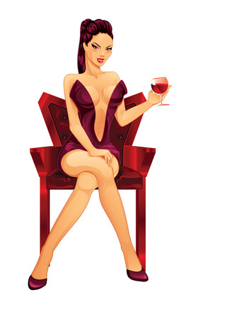 crossed legs: Vampire Lady   Vector Illustration  Illustration