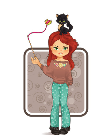 Cute girl playing with cat Illustration