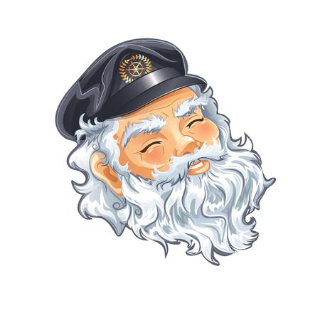 captain hat: Portrait of old nice Captain Illustration