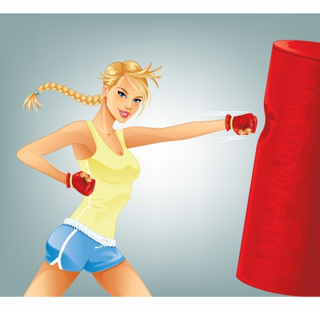 tough girl: Woman Boxing Illustration