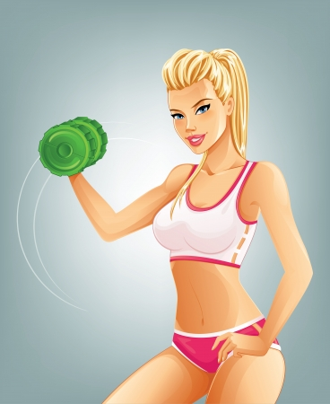 Slim fit woman lifting dumbbell Illustration