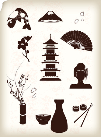 japanese sake: Iconos de Japón Vectores