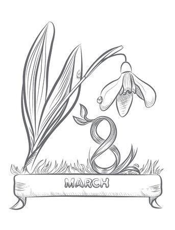 women s day: Flower represent 8 March of International Women s Day  Illustration