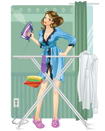 Woman Ironing Vector