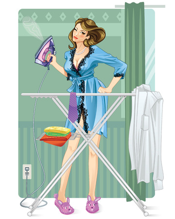 folded clothes: Woman Ironing