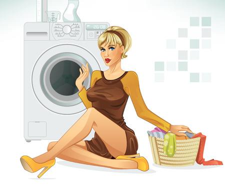 pin up vintage: Fare lavanderia