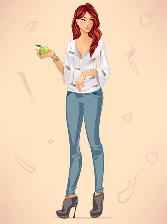 Woman Holding an Apple Illustration