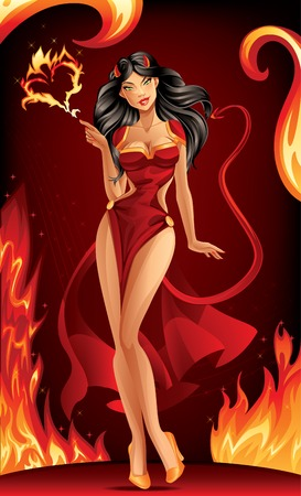 pinup: Devil Woman on Burning Background Illustration