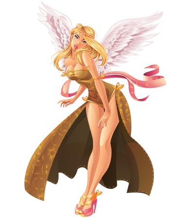 sexy meisje: Engel die op Wit