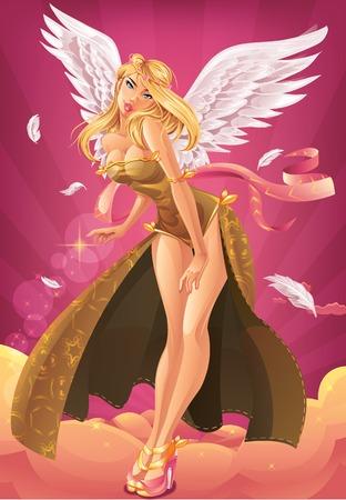 Beautiful blond angel on sky background