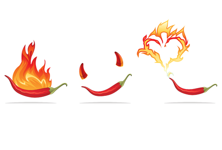 Hot chili pepper on flames with horns Vector