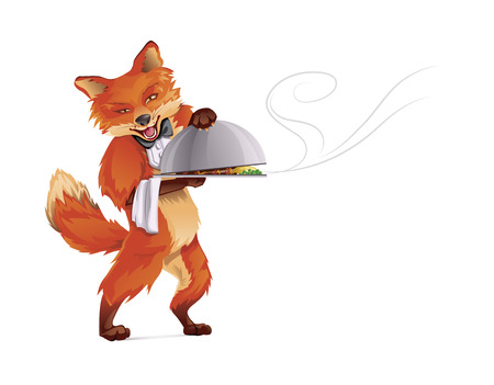Fox Waiter CMYK Color Vector