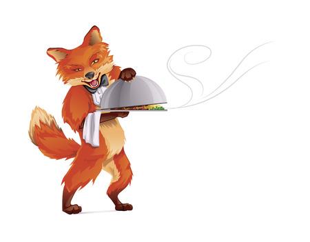 Fox Waiter CMYK Color Vector