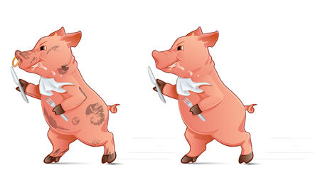 drooling: Hungry pig holding fork and knife and running Illustration