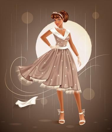 retro lady: Retro Dress Illustration