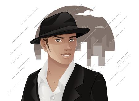 fashion portrait: Handsome Man Wearing Hat