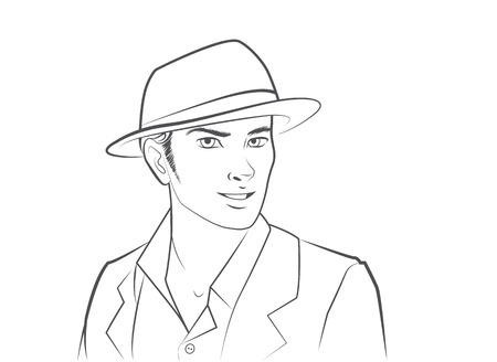 hombre guapo: Hombre Hermoso Sombrero que desgasta Vectores