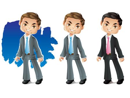 fullbody: Businessman. Stylized Business Character Smiling Illustration