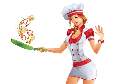 chef uniform: Cooking woman with green fryer pan