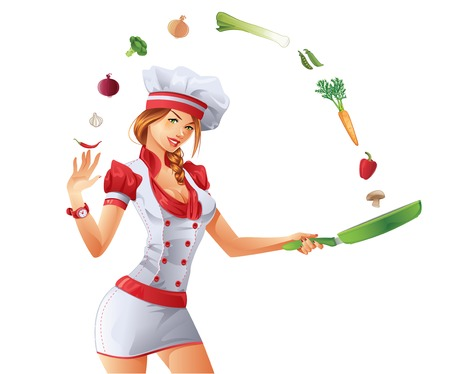 Cute Woman Cook 矢量图像
