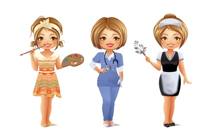 enfermera con cofia: Profesiones Set 3