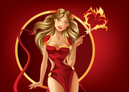 girl in red dress: Beautiful Temptation Illustration