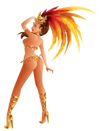 A beautiful carnival girl wearing a festival costume is dancing