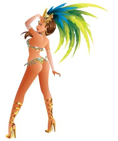 donna che balla: Una bella ragazza che indossa un costume di carnevale festival ballando Vettoriali