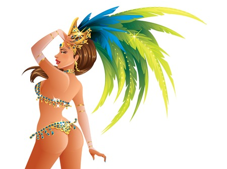 carnival costume: A beautiful carnival girl wearing a festival costume is dancing