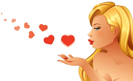 Woman Blowing Hearts Illustration
