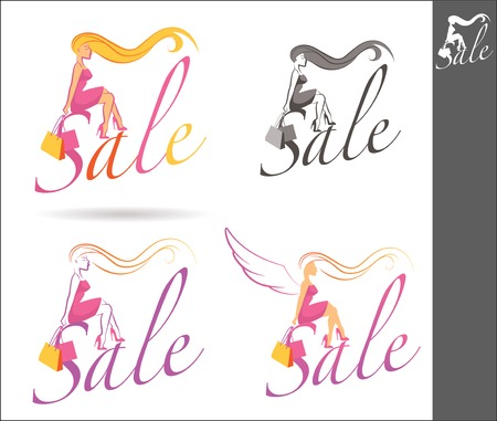 Silhouette of a girl holding shopping bags and sitting on sale text Illustration